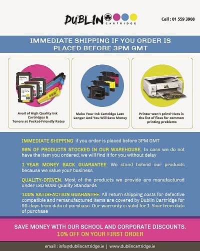 We sell compatible and original ink cartridges and toners for both households and business needs. All major printer brands supported! We guarantee cheapest prices in Ireland! For more information Visit our website.