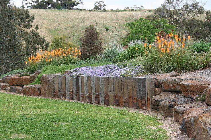 Rural garden, retaining wall. www.rpgardendesign.com.au