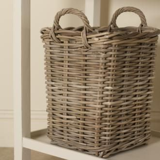 This sturdy, easy-to-lift Wyndham #Rattan Basket, made by Jim Lawrence, is instantly uplifted against a backdrop of #clay, the new popular #paint finish for the #new-season.