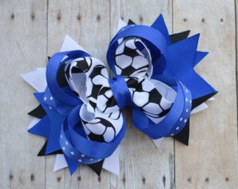 Girls soccer bows, Soccer team hair bows, Blue soccer bow