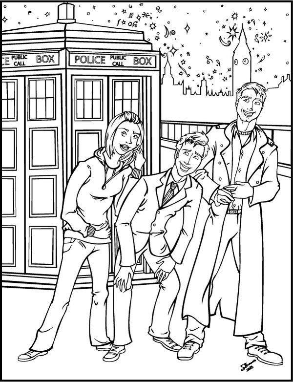 doctor who coloring page rose tyler jack harkness ten - Sheets To Color