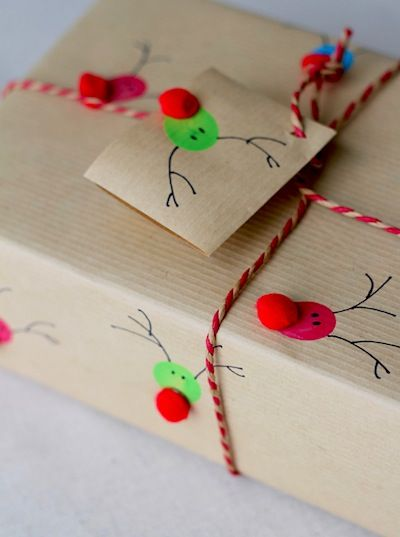 Kraft paper for wrapping, hand drawn reindeer with Pom Pom for nose!