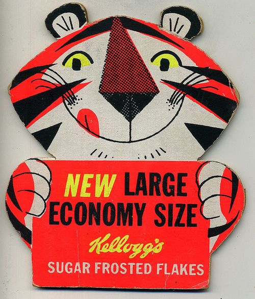 Promotional Kelloggs Tony the Tiger cut out point of sale card.
