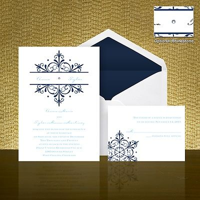 Spectacular Snowflake Wedding Invitation - Navy