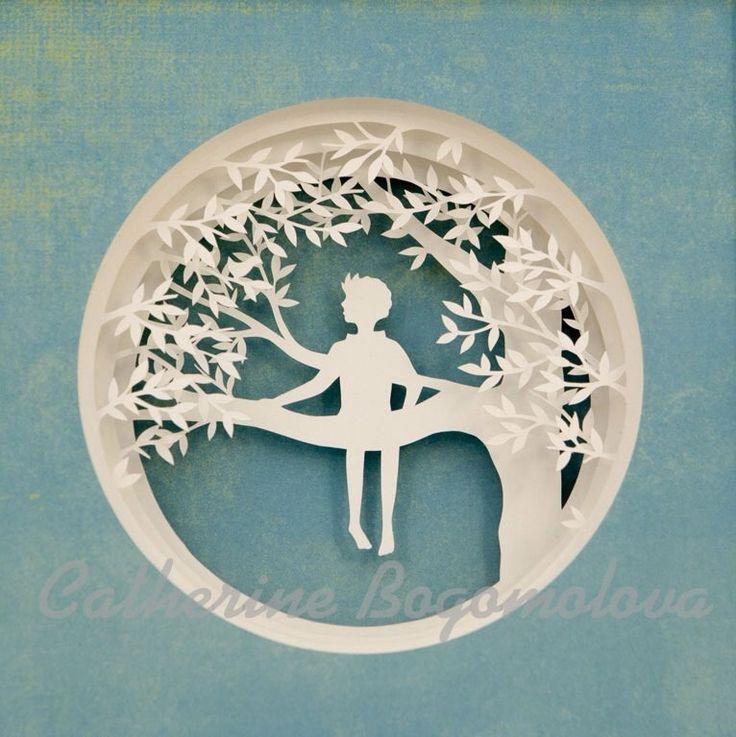 Original papercut for a shadowbox by Catherine Bogomolova on Etsy. Wow.