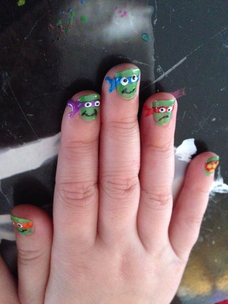 Ninja turtles - done on a 6 year olds nails. Nailfy Nail art by Kirsty.
