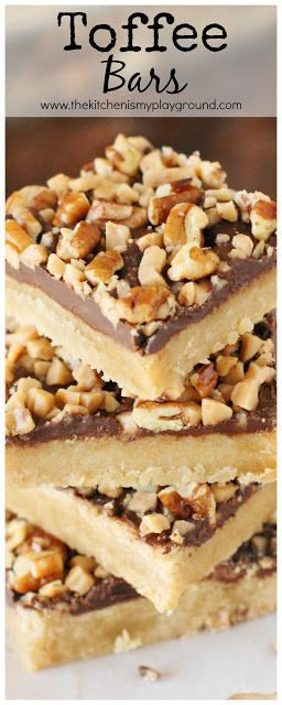 Toffee Bars ~ Brown sugar cookie crust topped with chocolate, toffee bits, and…