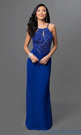Long Royal Blue Formal Blondie Nites Gown