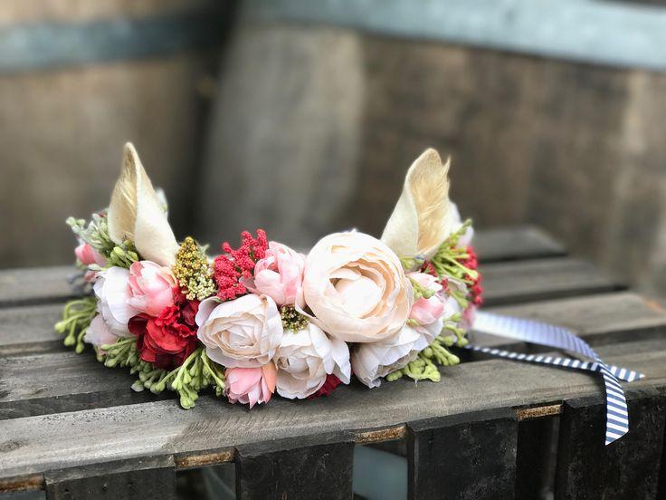Baby Deer Flower Crown, Deer Ears, Deer Costume, Doe, Fawn, Infant flower Crown, Deer Headband, Baby Deer Headband, Woodland Party, Infant. by ScarletHarlow on Etsy
