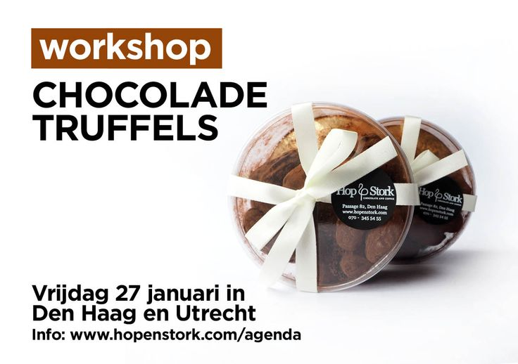 Friday, January 27th we will give the first workshop of 2017 in The Hague and Utrecht: Making Chocolate Truffles!   Book your spot now or look for more info at:   https://www.facebook.com/pg/hopenstork/events/