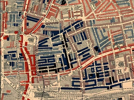 Part of Charles Booth's poverty map showing the Old Nichol, a slum in the East End of London. Published 1889