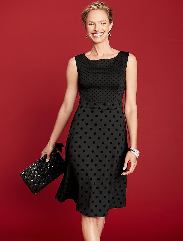This gorgeous flocked dot ponte dress is a classic piece you will want to have in your closet.