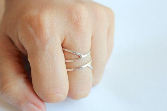 Sirène  anneau  empilés bandes  bague argent  par ElishaMarie