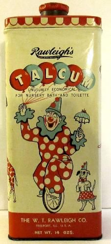 icollect247.com Online Vintage Antiques and Collectables - Rawleigh Nursery Bath & Toilet Talc Tin With Circus Motif