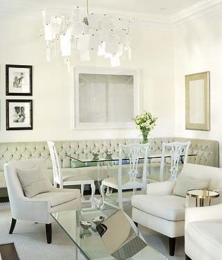 Sarah Richardsons Tufted Banquet Bench With Dining Room Table White Chairs Curvy