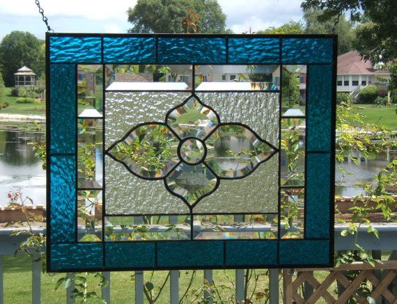 Victorian Bevel Cluster Stained Glass Panel Window Teal Blue Hanging Amber