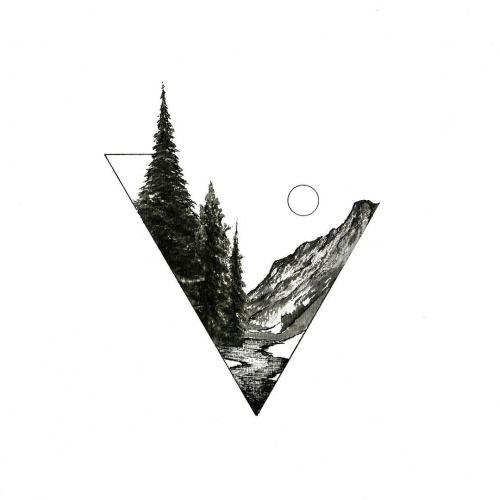 Greyscale mountain evergreen tree triangle linework sun tattoo