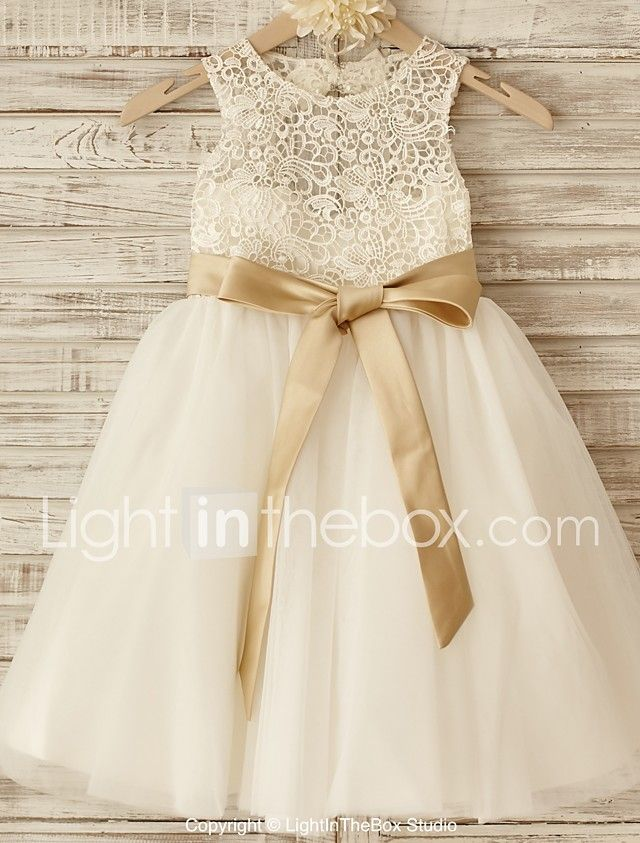 Princess Knee-length Flower Girl Dress - Lace / Tulle Sleeveless Scoop with Bow(s) / Sash / Ribbon 2017 - $59.99