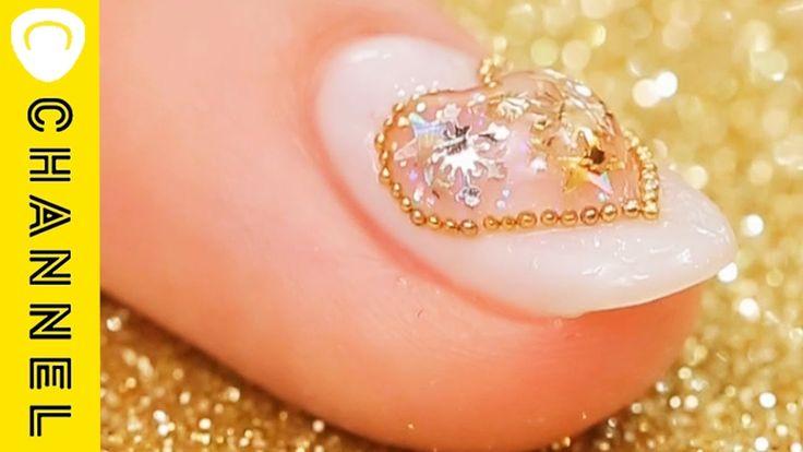 ぷっくりハート♡スノードームネイル │ Amazing Snow Globe Nails - YouTube