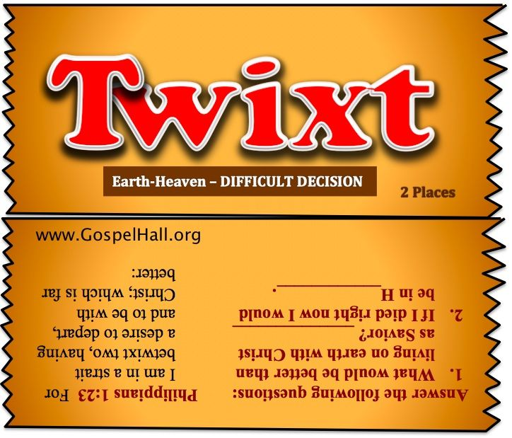 Twix Twixt bar spoof christian | Bible Object Lessons for ...
