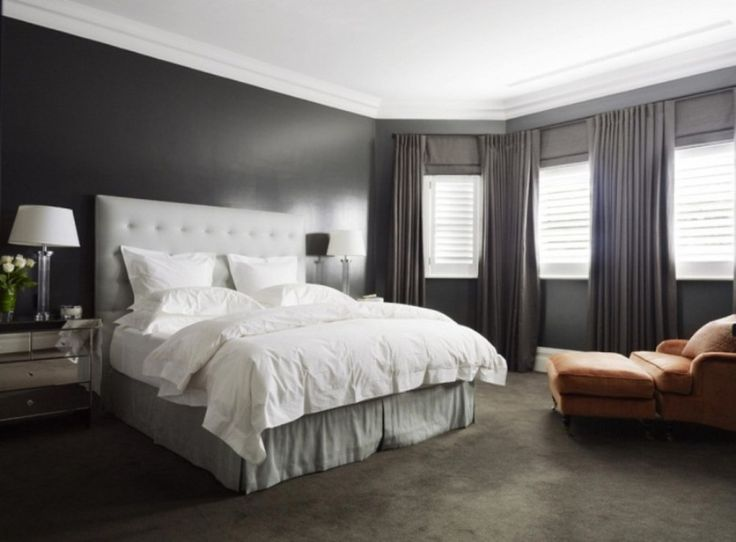 Dark brown carpet what color walls bedroom with grey for Bedroom with brown carpet
