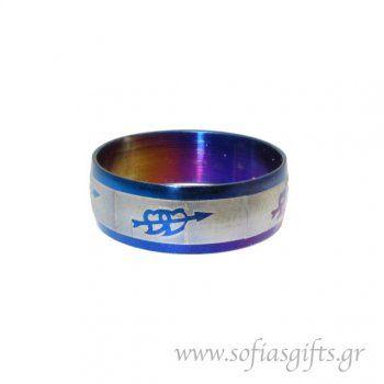Ανδρικό δαχτυλίδι metal blue καρδιές