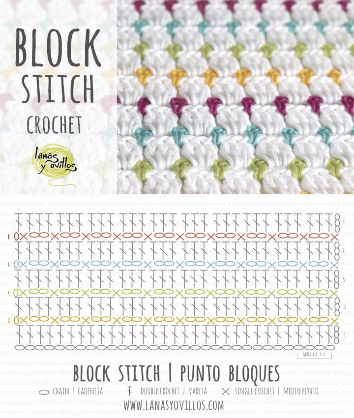 Block Stitch Crochet | Free pattern                                                                                                                                                                                 Más                                                                                                                                                                                 Más