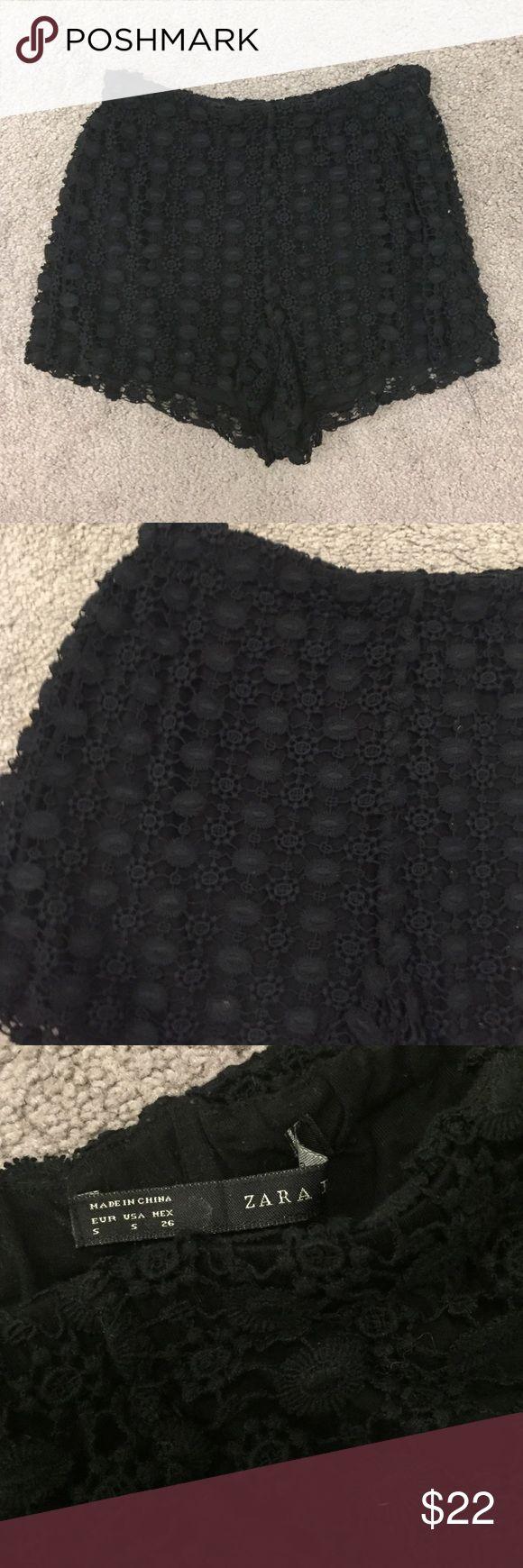 Zara Black Crocheted Shorts Black crochet shorts by ZARA - Elastic waistband, hidden side zipper. Super comfy & versatile. 100% cotton. Good condition. No trades! Zara Shorts