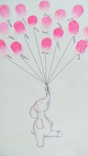 Baby-Dusche-Gästebuch, Andenken Kunst, Baby-Dusche, Elefant hält Fingerabdruck Ballons, Kinderzimmer Kunst, Baby-Dusche-Dekor, benutzerdefinierte Kunst, Baby-Dusche-Aktivität, drucken