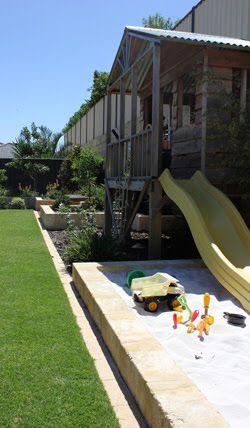 Cubby, slide, sandpit & shade/canvas sail.
