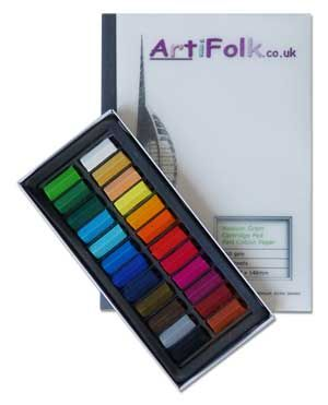 Artifolk 24 Artists' Half Length Soft Pastels and A5 Cartridge Pad Set