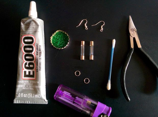 What will you need to make earrings using blown electric fuse