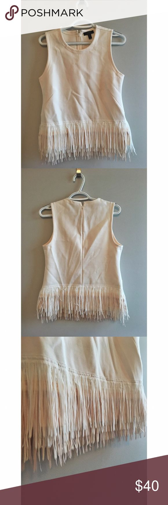 J. Crew Ombré Fringe Tank Top J. Crew fringe tank top with cream, tan, and blush colored ombre fringe. J. Crew Tops