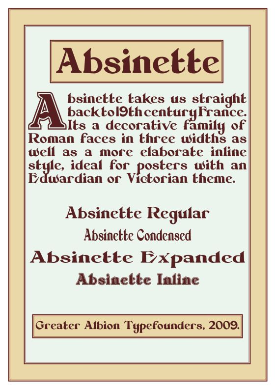 Greater Albion Typefounders' 'Absinette' Typeface Family