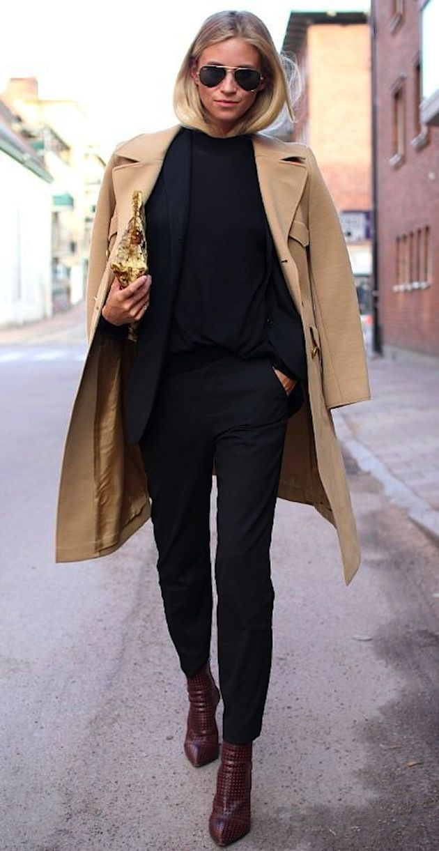 All black with a nude coat