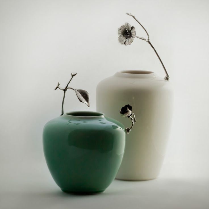 'Absence of a flower' vases. Porcelain & Sterling silver. By Geoff Mitchell.