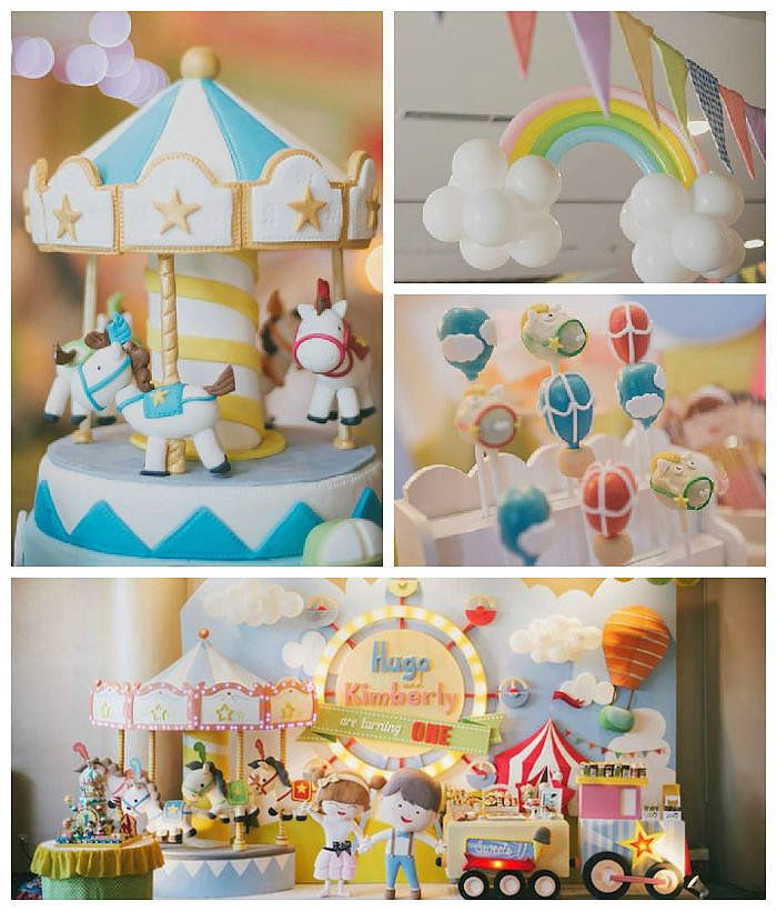 Take a Carousel Ride With This First Birthday Party Theme! | POPSUGAR Moms via @karaspartyideas