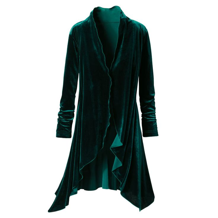 Exclusive! Lady of the Forest. Wiccans-Druids-Free Spirits: Few can resist the lush allure of evergreen velvet, richly evident in the long lines of this graceful, lettuce-edged jacket. Want it, have to have it!