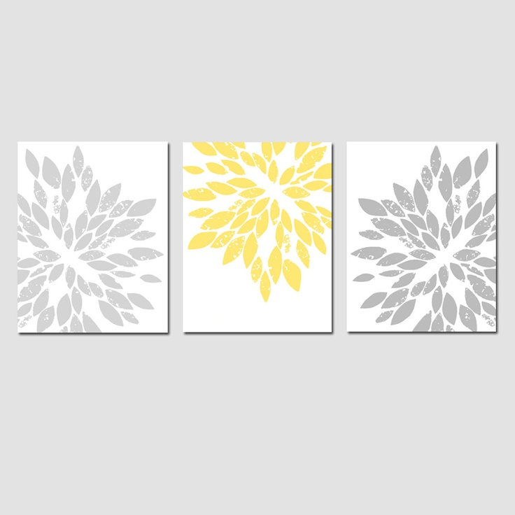 Modern Abstract Painterly Floral - Set of Three Large Scale 11 x 14 Floral Art Prints - Pale Yellow, Gray, Aqua, and More. $59.50, via Etsy.