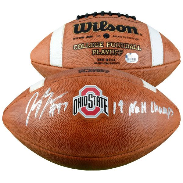 """Joey Bosa Ohio State Buckeyes Fanatics Authentic Autographed Wilson College Football Playoff Football with """"14 NATL CHAMPS"""" Inscription - $299.99"""