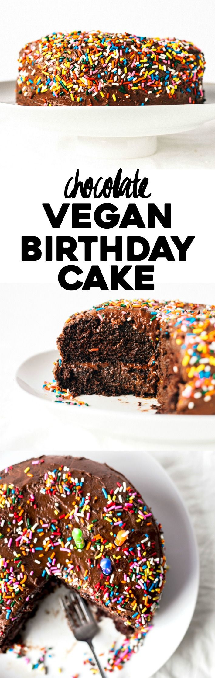 Vegan Birthday Cake | Super rich and chocolate-y, this sprinkle-covered cake will please ALL of your friends, vegan or not! | thealmondeater.com