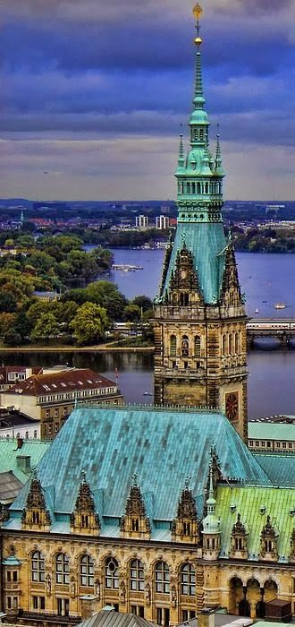 Hamburg Germany  ~ Churches are important landmarks, such as St Nicholas' church, which for a short time in the 19th century was the world's tallest building.