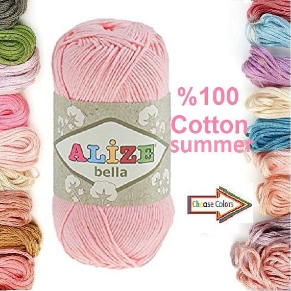 Check out this item in my Etsy shop https://www.etsy.com/listing/500836370/alize-bella-100-cotton-yarn-crochet-yarn
