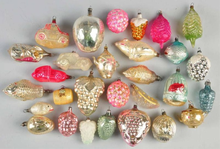 Set balls vintage german gdr xmas antique decor christmas glass ornament_