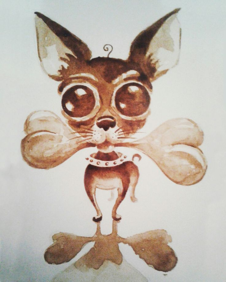 """Chiuahua"" Size: 21x30 cm. 2017 #painting #coffee #art #живопись #coffee_art #кофейная_гризайль #café #artist #creative #kahvi #кофейная_акварель #caife  #живопись_кофе #kaffe #jacobs #inspiration #coffee_time #bone #chihuahua #jacobs_monarch #AneK_art"