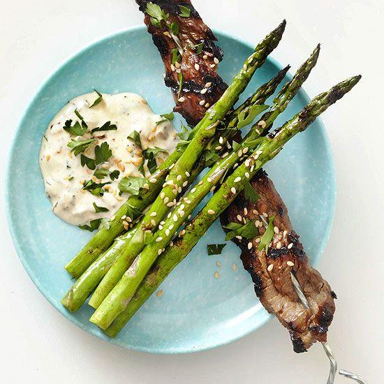 Asparagus with Caramelized Onion Aioli Tare sauce, a Japanese basting ...