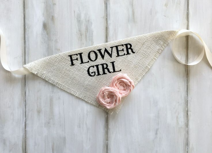 Your sweet pup will feel like the most important guest in this Flower Girl bandana. Great for engagement photos, save the date cards and bridal shower gifts! ~ Ivory Burlap with Blush cotton fabric fl