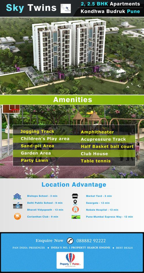 There are many amenities and facilities associated with a housing complex which you may not be able to enjoy in a solo apartment, the sky twins Kondhwa pune is noted for the greenery and the beautiful ambience that the buyers can enjoy here. There are swimming pools, gymnasium, clubs, community halls and much more that you can look forward to. The project is also in an advantageous position in terms of the location of the project.