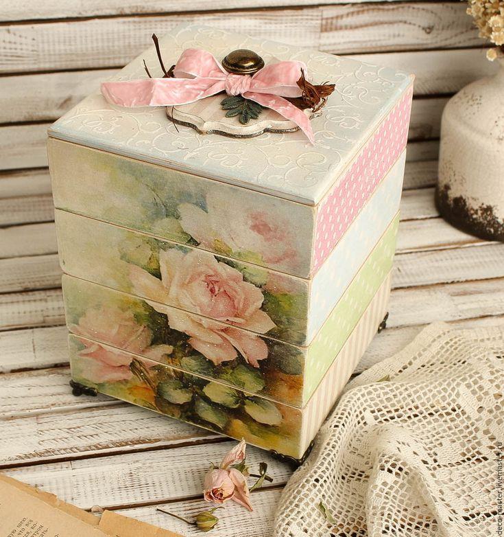 Купить хранилище для рукодельницы ЗЕФИРНАЯ РОЗА - бледно-розовый, комод, комодик, большой комод, мини-комодик