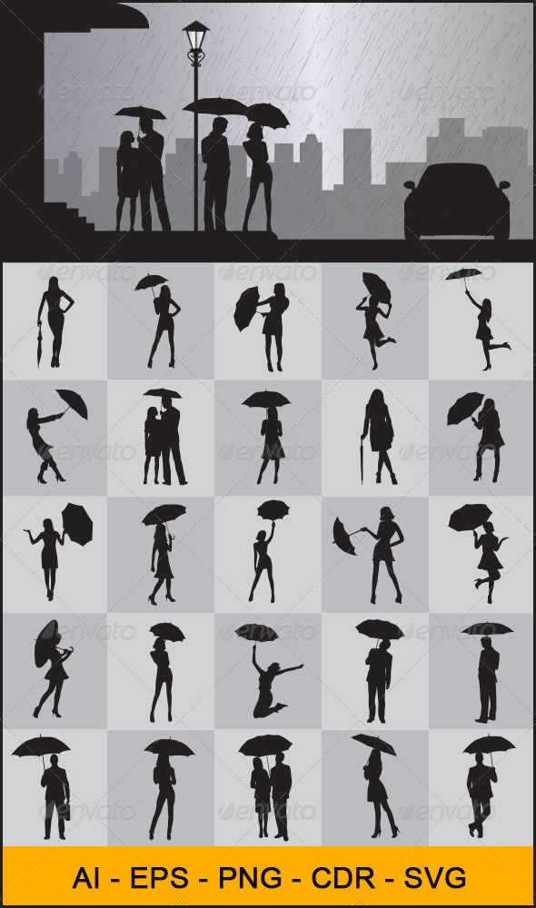 People with Umbrella Silhouettes - People Characters